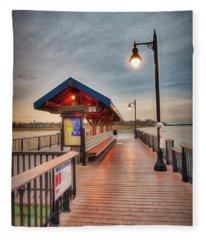 Keyport Pier At Sunset Fleece Blanket
