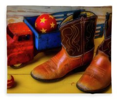 Kids Boots And Toy Truck Fleece Blanket
