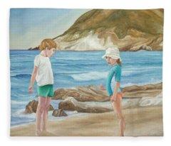 Kids Collecting Marine Shells Fleece Blanket