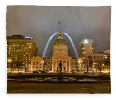 Kiener Plaza And The Gateway Arch Fleece Blanket