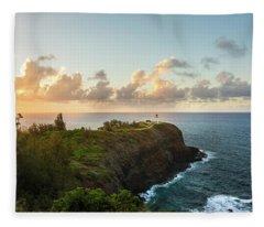 Kilauea Light House Seascape At Sunset - Kauai Hawaii Fleece Blanket