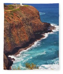 Kilauea Lighthouse On The Island Of Kauai, Hawaii, United States Of America          Fleece Blanket