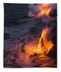 Kilauea Volcano Lava Flow Sea Entry 6 - The Big Island Hawaii Fleece Blanket