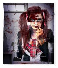 Killer School Girl In A Murder Cover Up Fleece Blanket