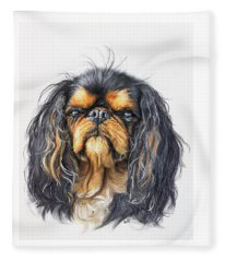 Fleece Blanket featuring the painting King Charles Spaniel by Barbara Keith