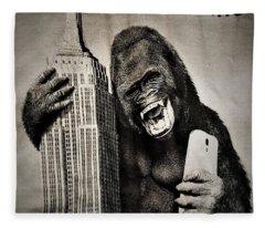 King Kong Selfie Fleece Blanket