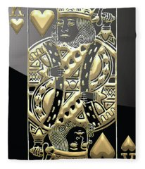 King Of Hearts In Gold On Black Fleece Blanket