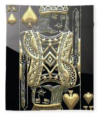 King Of Spades In Gold On Black   Fleece Blanket