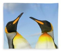 King Penguins Interacting Fleece Blanket