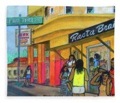 Kingston Jamaica Rasta Braid Shoppe Fleece Blanket