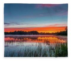 Kingston Lake Sunset Fleece Blanket