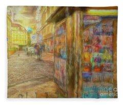 Kiosk - Prague Street Scene Fleece Blanket