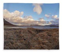Fleece Blanket featuring the photograph Kirkjufell Mountain Panoramic View, Iceland by Pradeep Raja PRINTS