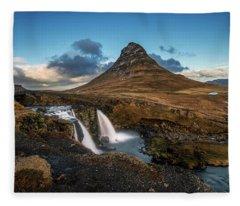 Kirkjufellsfoss Waterfall And Kirkjufell Mountain, Iceland Fleece Blanket