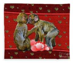 Kissing Chimpanzees Hearts Fleece Blanket