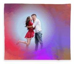 Kissing Couple Fleece Blanket