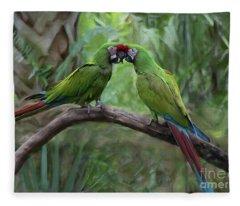 Kissing Macaws Fleece Blanket