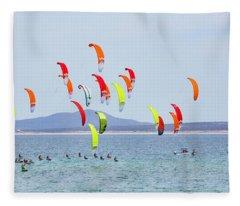 Kite Boarding At La Ventana Fleece Blanket