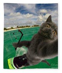 Kite Surfing Cat Selfie Fleece Blanket
