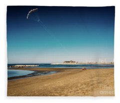 Kitesurf On The Beach Fleece Blanket