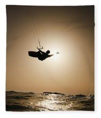 Kitesurfing At Sunset Fleece Blanket
