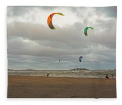 Kitesurfing On Revere Beach Fleece Blanket