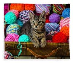 Kitten In Suitcase Fleece Blanket
