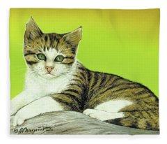Kitten On Rock Fleece Blanket
