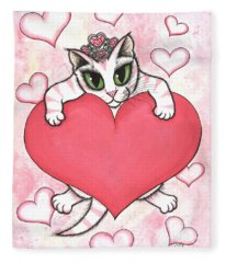 Kitten With Heart Fleece Blanket