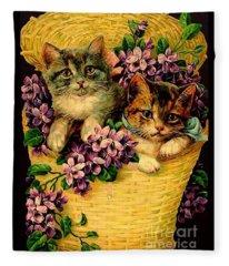 Kittens With Violets Victorian Print Fleece Blanket