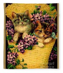 Kittens With Violets Victorian Print Fleece Blanket
