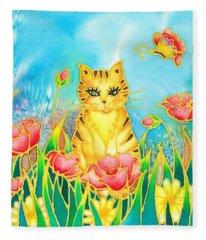 Kitty And Poppies Fleece Blanket