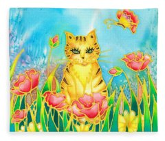 Kitty And Poppies Fleece Blanket