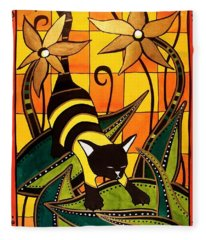 Kitty Bee - Cat Art By Dora Hathazi Mendes Fleece Blanket