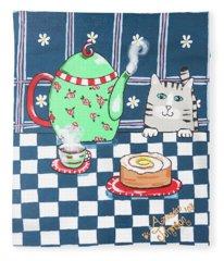 Kitty Cat Tea Time Fleece Blanket