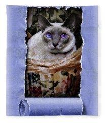 Kitty In A Basket Fleece Blanket