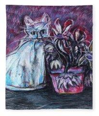 Kitty With Flowers Fleece Blanket