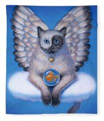 Kitty Yin Yang- Cat Angel Fleece Blanket