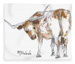 Kmcelwaine Logo Longhorn, Ollie, Texas Longhorn Art Print,watercolor Cow Painting, Whimsical, Fleece Blanket