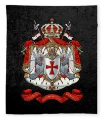 Knights Templar - Coat Of Arms Over Black Velvet Fleece Blanket