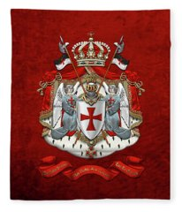 Knights Templar - Coat Of Arms Over Red Velvet Fleece Blanket