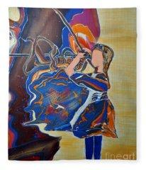 Knitter Of Hearts Fleece Blanket
