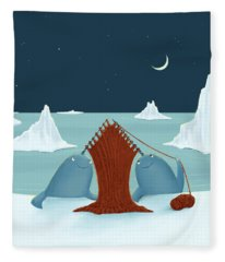 Knitting Narwhals Fleece Blanket
