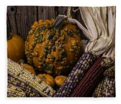 Knuklehead Pumpkin And Indian Corn Fleece Blanket