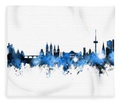 Koblenz Germany Skyline Blue Signed Fleece Blanket