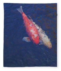 Koi Fish Partners Fleece Blanket