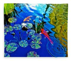 Koi Pond Fleece Blanket