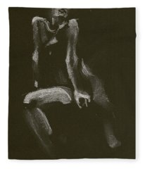 Kroki 2014 10 18_3 Figure Drawing White Chalk Fleece Blanket