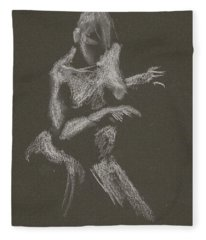 Kroki 2015 10 03_12 Figure Drawing White Chalk Fleece Blanket