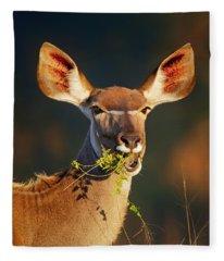 Kudu Portrait Eating Green Leaves Fleece Blanket